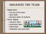 organize the team