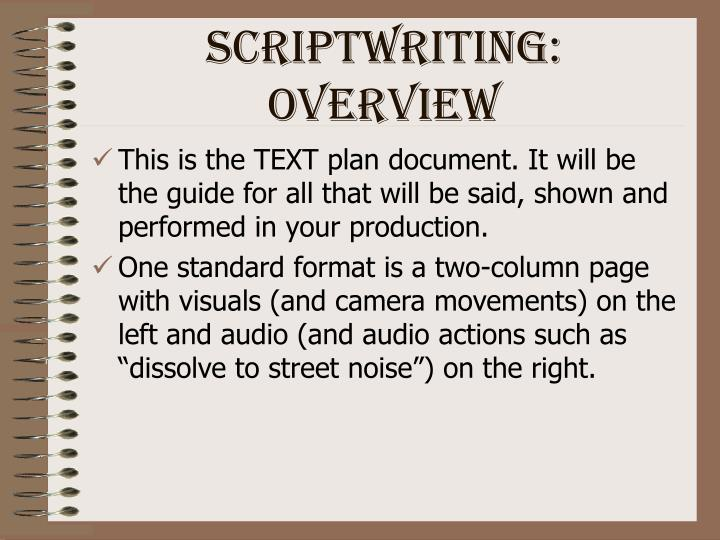 Scriptwriting: Overview