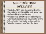 scriptwriting overview