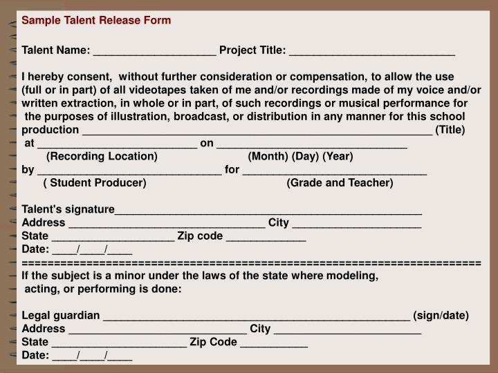 Sample Talent Release Form