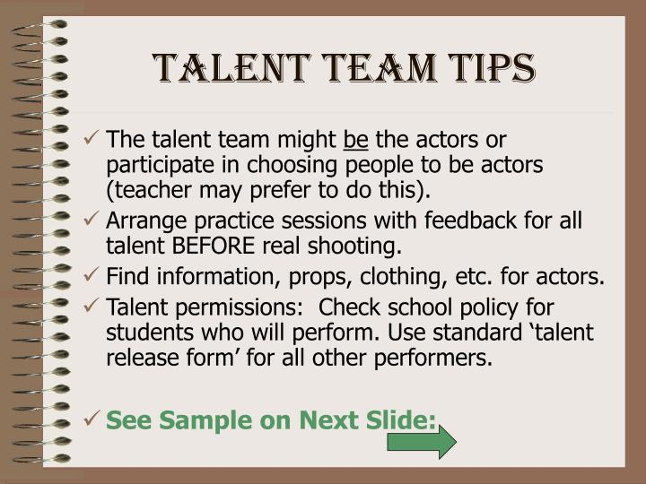 Talent Team Tips