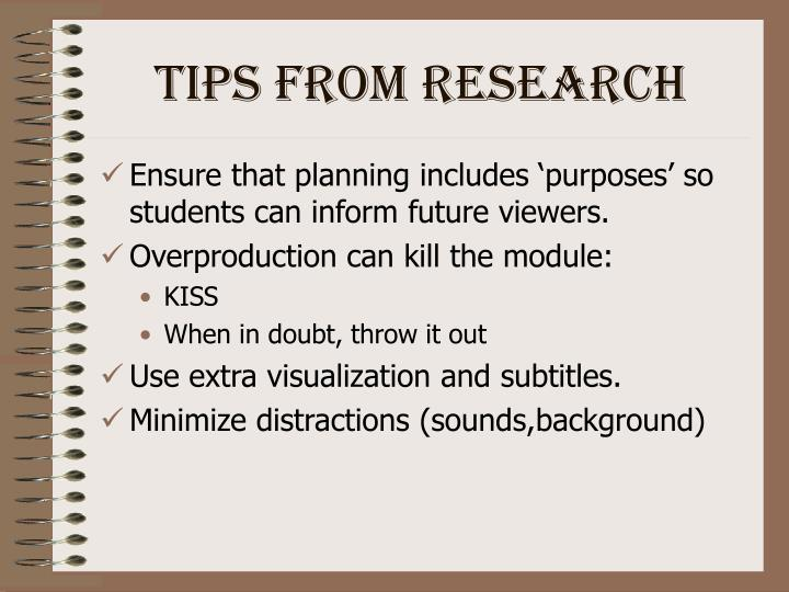 Tips from Research