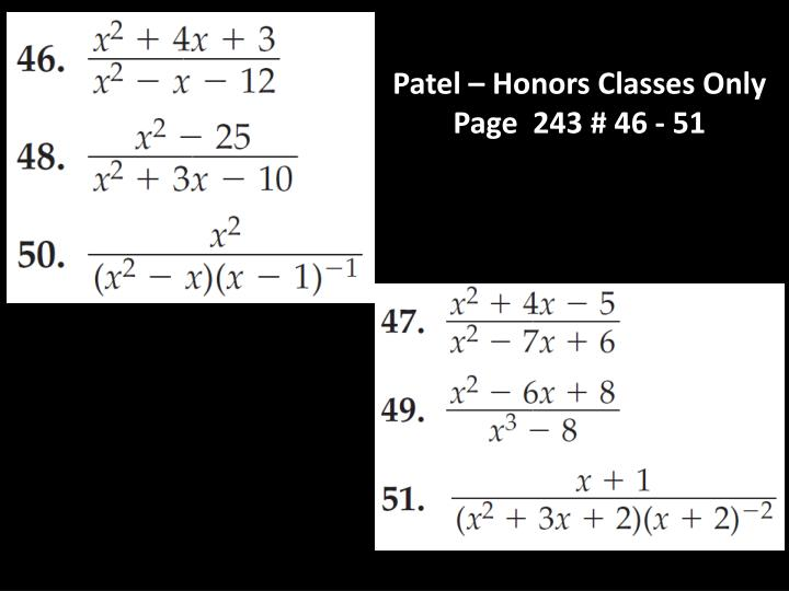 Patel – Honors Classes Only