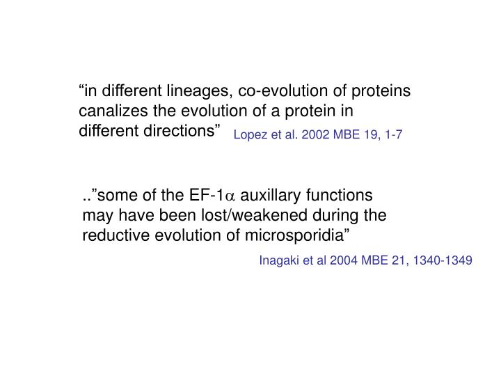 """in different lineages, co-evolution of proteins canalizes the evolution of a protein in different directions"""