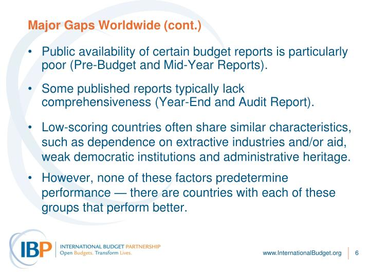 Major Gaps Worldwide (cont.)