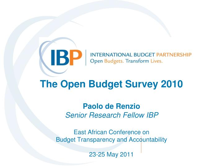 The Open Budget Survey 2010