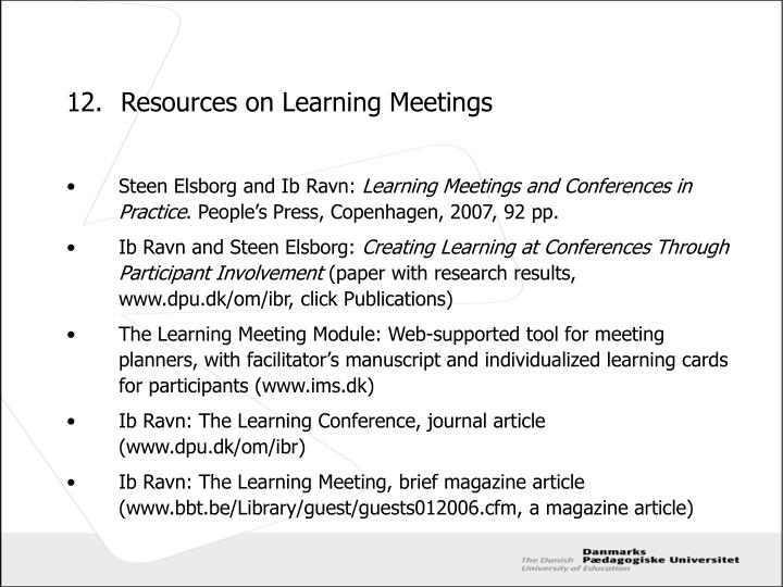 12.Resources on Learning Meetings
