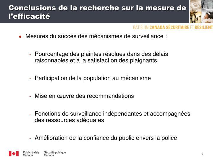 Conclusions de la recherche sur la mesure de l'efficacité