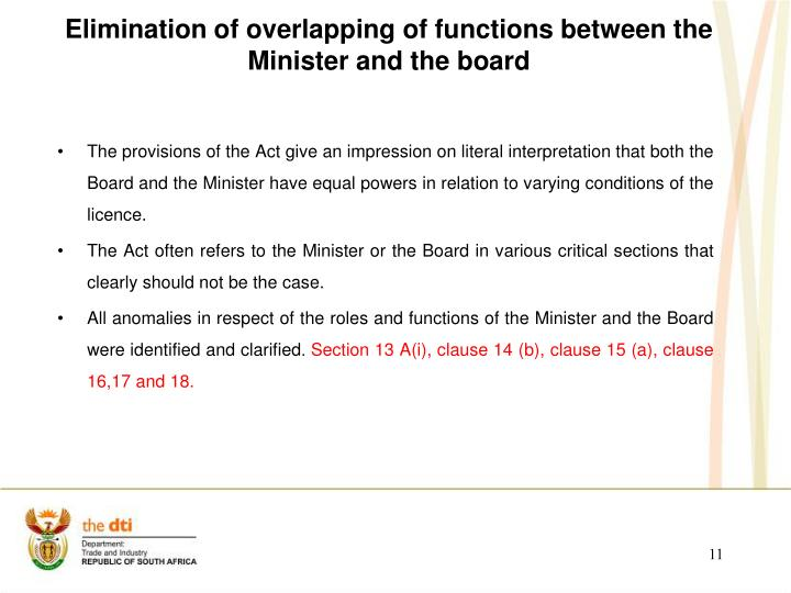 Elimination of overlapping of functions between the Minister and the board