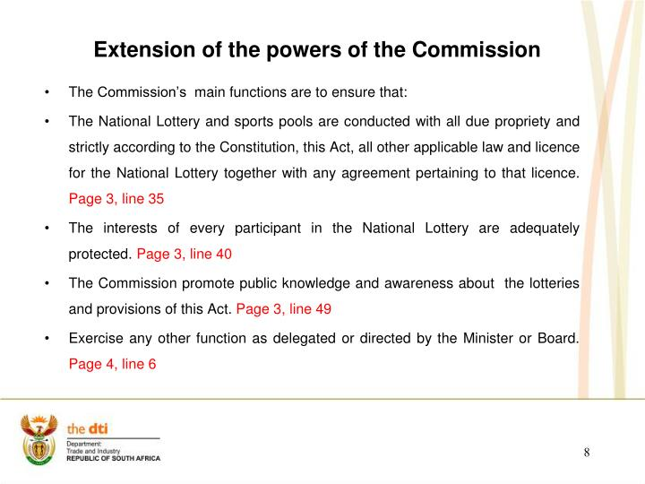 Extension of the powers of the Commission