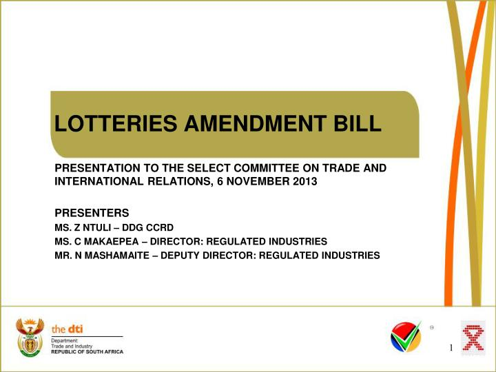 Lotteries amendment bill