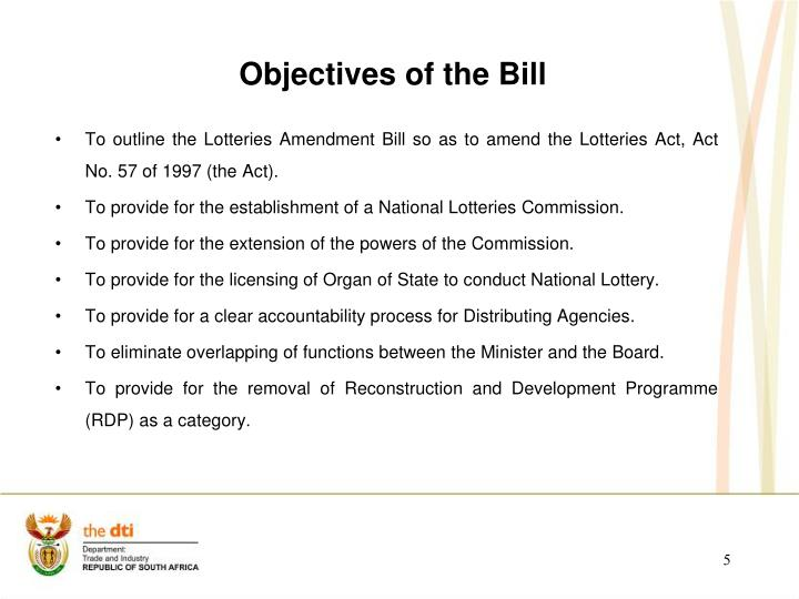Objectives of the Bill