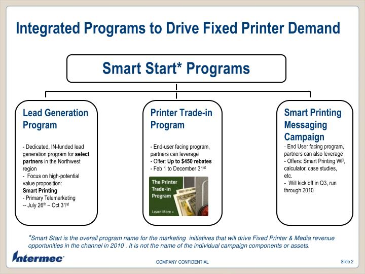 Integrated Programs to Drive Fixed Printer Demand