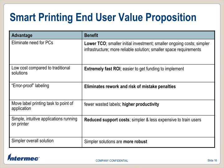 Smart Printing End User Value Proposition