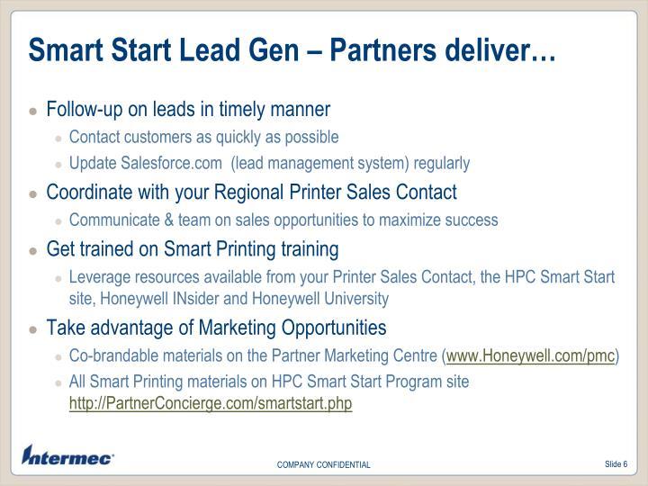 Smart Start Lead Gen – Partners deliver…