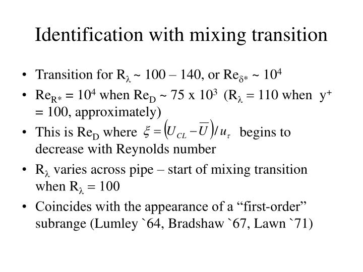 Identification with mixing transition