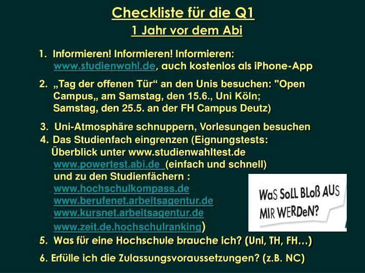Checkliste für die Q1