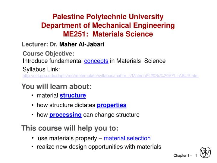 palestine polytechnic university department of mechanical engineering me251 materials science