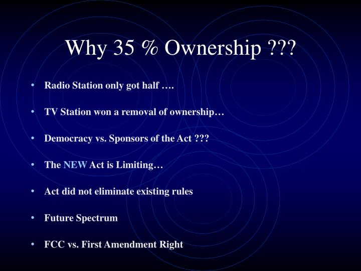 Why 35 % Ownership ???