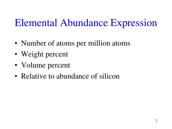Elemental Abundance Expression