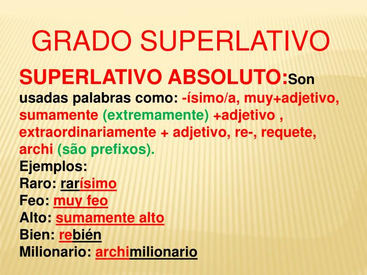 GRADO SUPERLATIVO