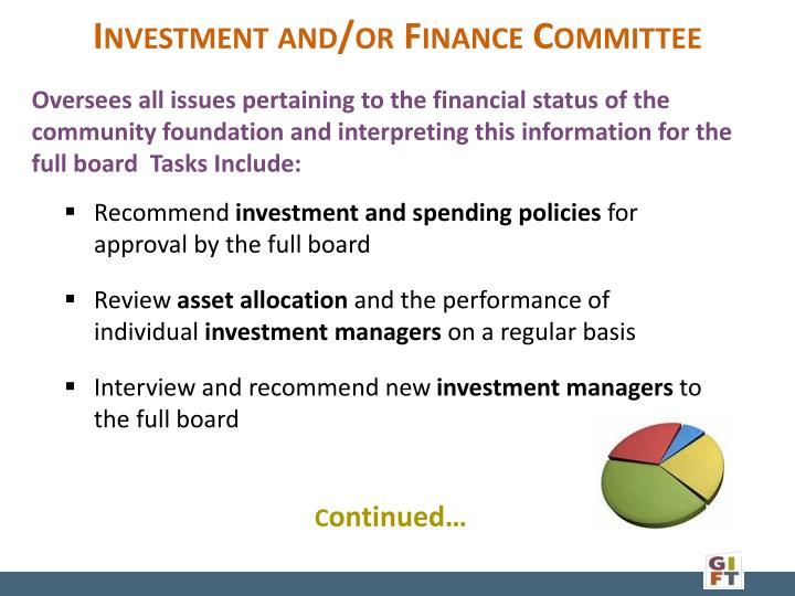 Investment and/or Finance Committee