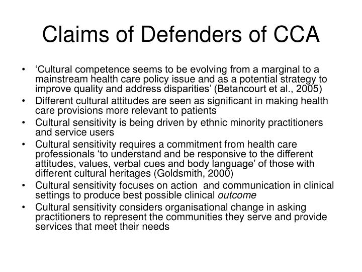 Claims of Defenders of CCA