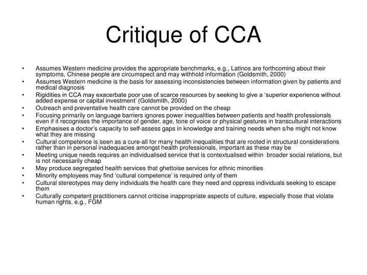Critique of CCA