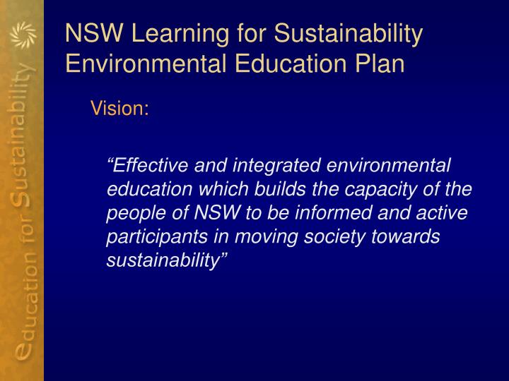 NSW Learning for Sustainability Environmental Education Plan