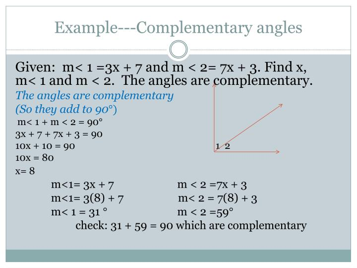 Example---Complementary angles