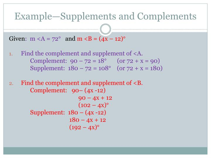 Example—Supplements and Complements