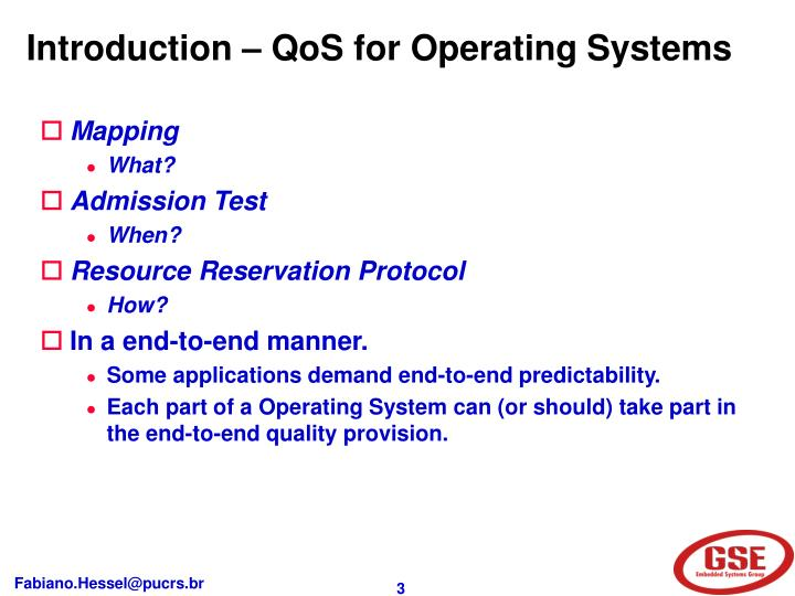 Introduction – QoS for Operating Systems