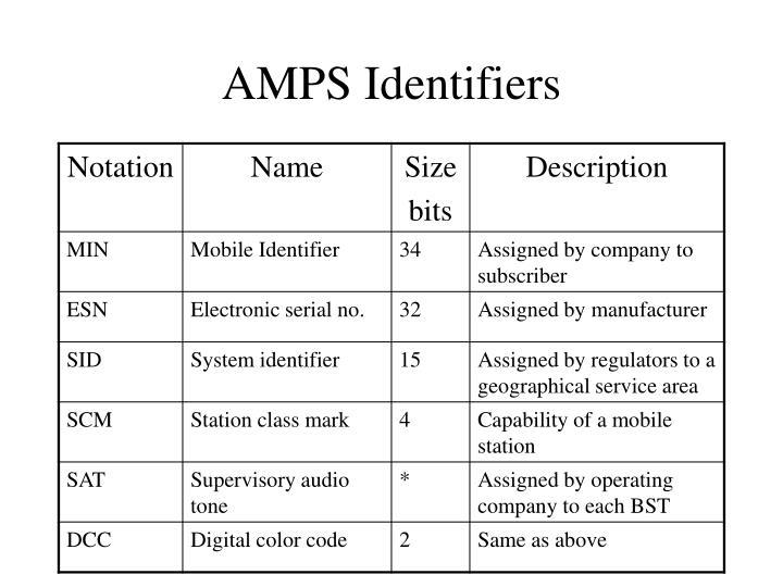 AMPS Identifiers