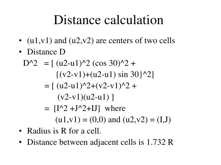 Distance calculation