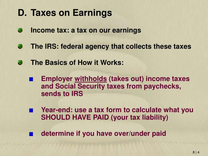 Taxes on Earnings