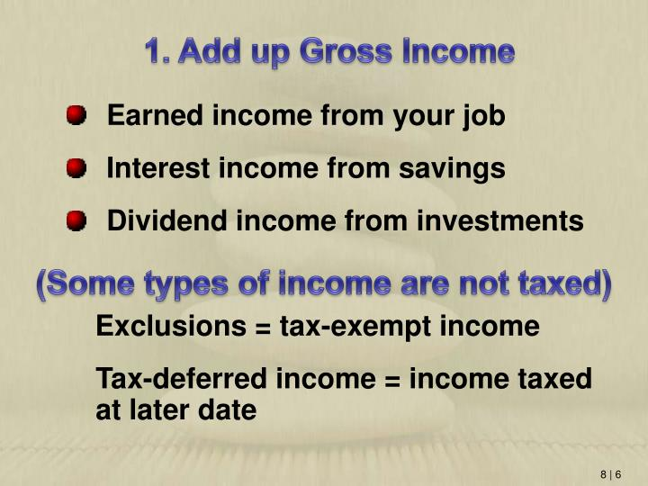 1. Add up Gross Income