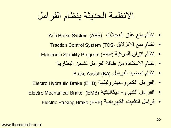 الانظمة الحديثة بنظام الفرامل