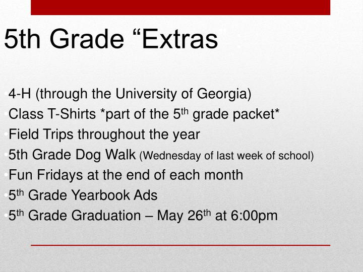 """5th Grade """"Extras"""