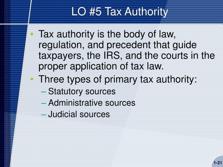 LO #5 Tax Authority
