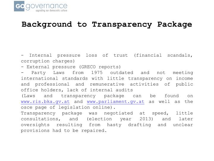 Background to Transparency Package