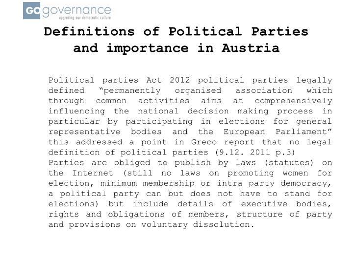 Definitions of Political Parties and importance in Austria