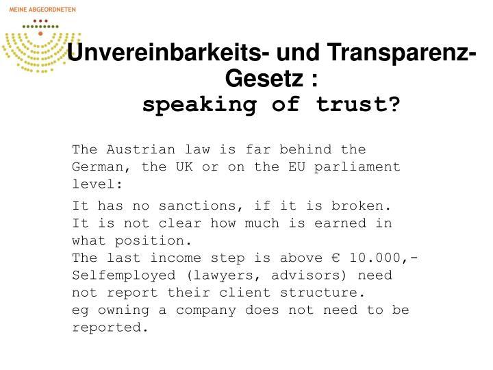 Unvereinbarkeits- und Transparenz-Gesetz :