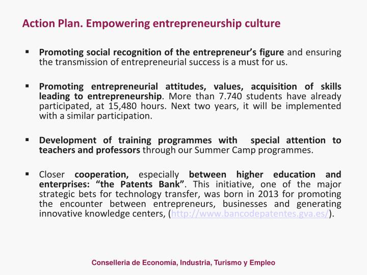 Action Plan. Empowering entrepreneurship culture
