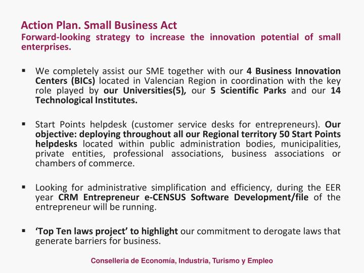 Action Plan. Small Business Act