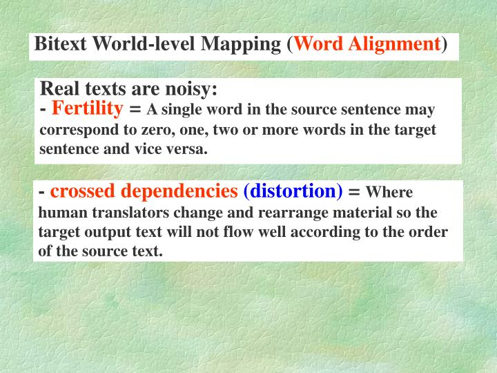 Bitext World-level Mapping (