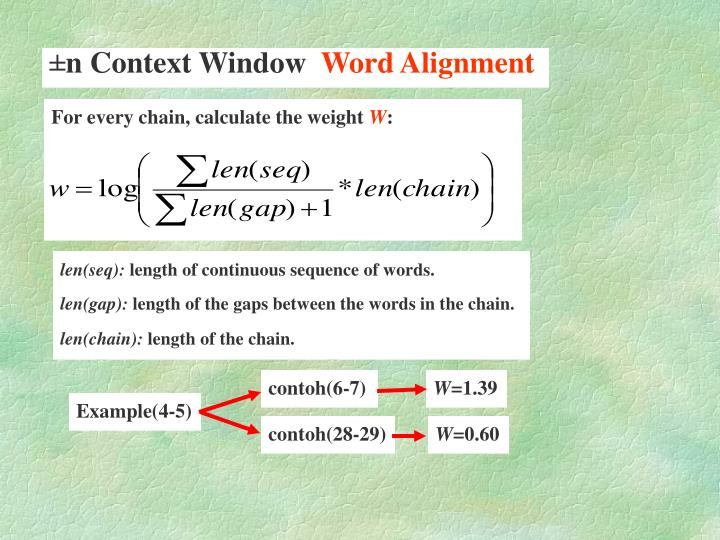 For every chain, calculate the weight