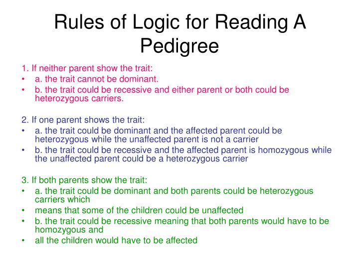 Rules of Logic for Reading A Pedigree