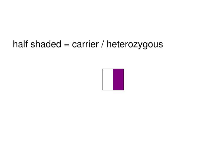 half shaded = carrier / heterozygous