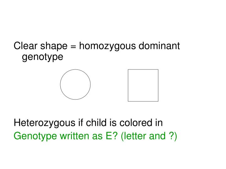 Clear shape = homozygous dominant genotype