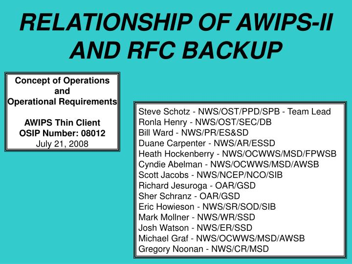RELATIONSHIP OF AWIPS-II AND RFC BACKUP
